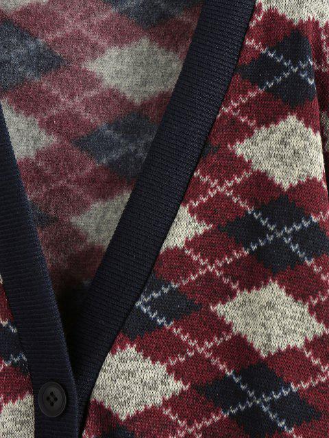 lady ZAFUL Argyle Drop Shoulder Cardigan - RED WINE L Mobile