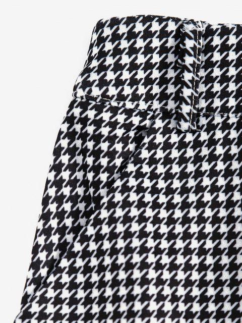 hot Buttoned Houndstooth Pockets Mini Skirt - BLACK S Mobile