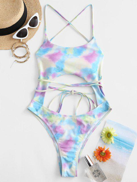 sale ZAFUL Tie Dye Criss Cross Cutout High Leg One-piece Swimsuit - MULTI S Mobile