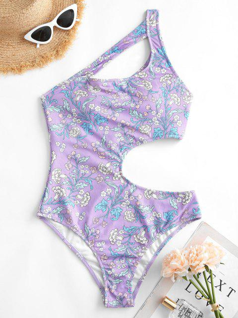 fashion ZAFUL Ribbed Floral Cutout One Shoulder One-piece Swimsuit - LIGHT PURPLE S Mobile