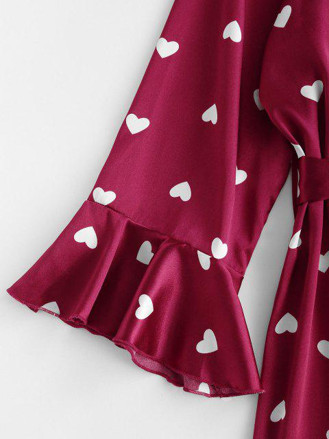 women Belted Flare Sleeve Heart Satin Robe - RED WINE S Mobile