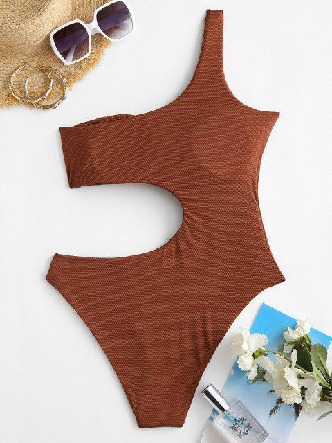 shop ZAFUL One Shoulder O-ring Cut Out One-piece Swimsuit - COFFEE L Mobile