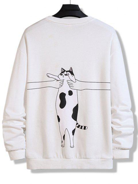 affordable Letter Cat Print Crew Neck Sweatshirt - WHITE S Mobile
