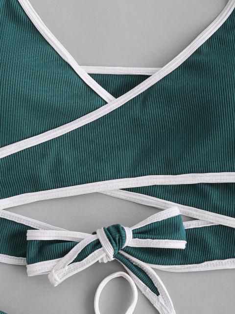 affordable ZAFUL Ribbed Contrast Trim Wrap Three Piece Bikini Swimwear - DEEP GREEN S Mobile