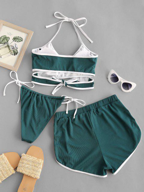 ZAFUL Ribbed Contrast Trim Wrap Three Piece Bikini Swimwear - ديب غرين M Mobile