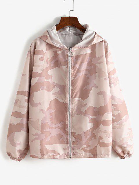 Zip Up Hooded Camouflage Windbreaker Jacket - زهري M Mobile