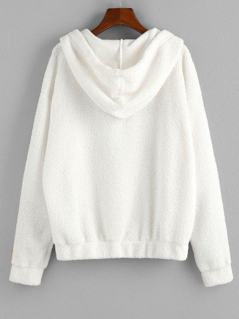 affordable ZAFUL American Flag Dreamer Embroidered Quarter Zip Teddy Hoodie - WHITE M Mobile