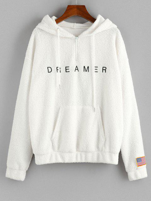 ZAFUL American Flag Dreamer Embroidered Quarter Zip Teddy Hoodie - أبيض M Mobile