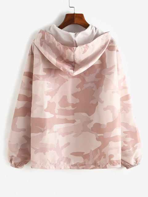 chic Zip Up Hooded Camouflage Windbreaker Jacket - PINK S Mobile