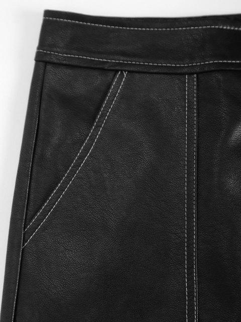 ladies Contrast Stitching Zip Up PU Leather Mini Skirt - BLACK L Mobile