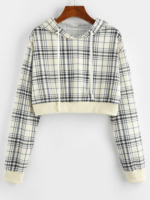 shop ZAFUL Plaid Drawstring Crop Hoodie - LIGHT YELLOW M Mobile