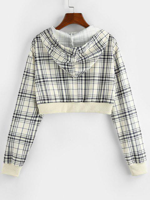 hot ZAFUL Plaid Drawstring Crop Hoodie - LIGHT YELLOW S Mobile
