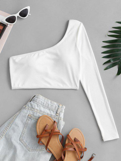 ZAFUL One Shoulder Ribbed Cropped Tee Swim Top - أبيض S Mobile