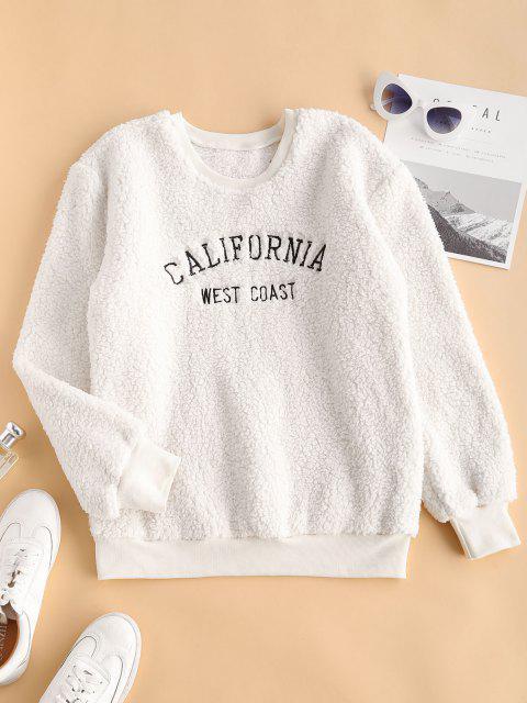 women's Fluffy CALIFORNIA Embroidered Teddy Sweatshirt - WHITE M Mobile