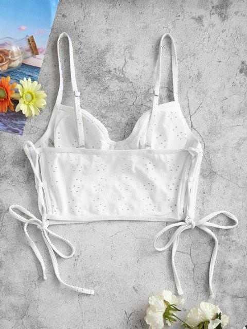 latest ZAFUL Broderie Anglaise Side Lace-up Boned Underwire Bustier Bikini Top - WHITE S Mobile