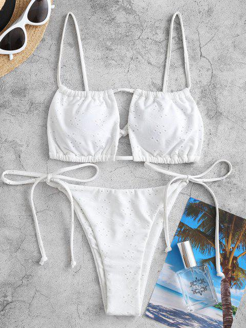ZAFUL Cutout Tie Side Broderie Bikini Swimwear - أبيض L Mobile
