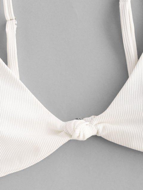 women ZAFUL Ribbed Knotted High Leg Three Piece Bikini Swimwear - WHITE M Mobile