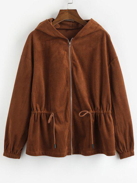 ZAFUL Drawstring Zip Up Corduroy Jacket - بنى M Mobile