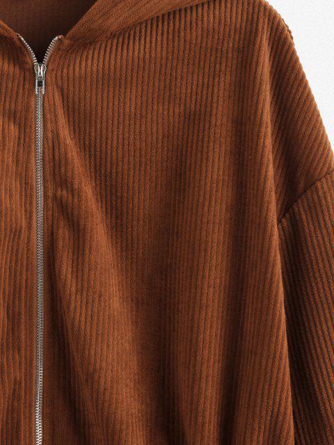 latest ZAFUL Drawstring Zip Up Corduroy Jacket - BROWN M Mobile