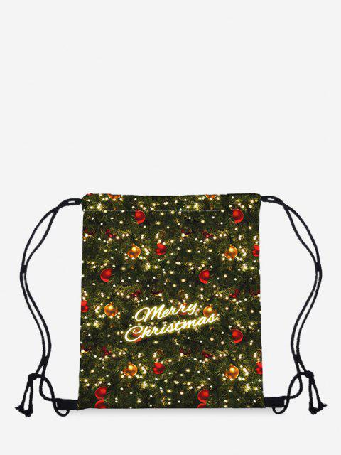 trendy Christmas Letter Digital Print Cinch Bag - DARK FOREST GREEN  Mobile