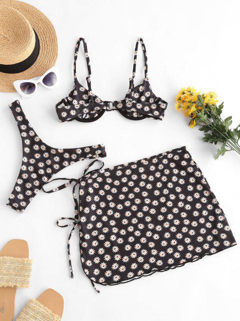 ladies ZAFUL Daisy Print Ribbed Cheeky Three Piece Bikini Swimwear - BLACK S Mobile