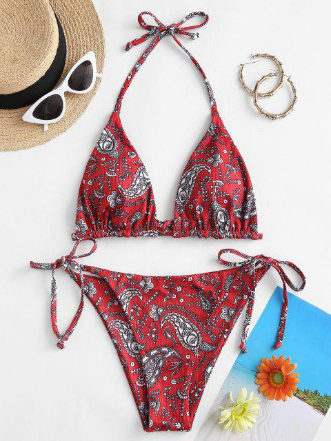 chic ZAFUL Paisley Floral Ribbed Tie Side Bikini Swimwear - RED WINE S Mobile