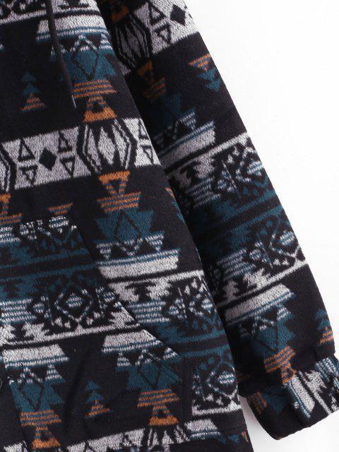 buy Ethnic Tribal Pattern Hooded Jacket - BLUE XL Mobile