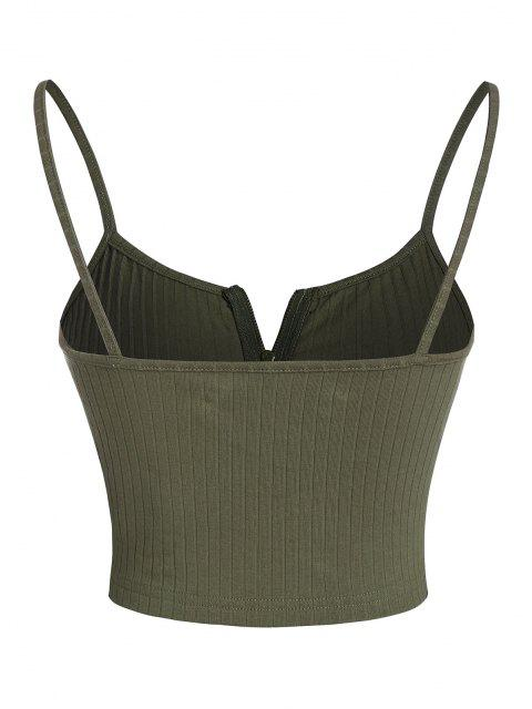 fashion ZAFUL Ribbed Zip Front Crop Camisole - ARMY GREEN S Mobile