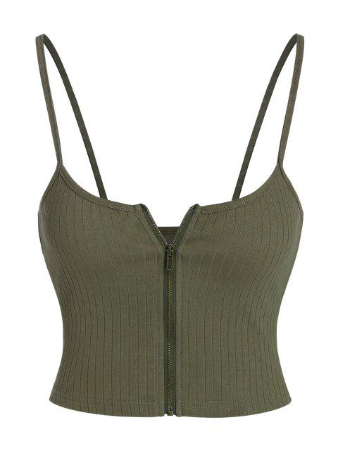 affordable ZAFUL Ribbed Zip Front Crop Camisole - ARMY GREEN M Mobile