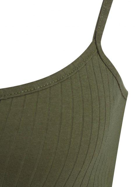 sale ZAFUL Ribbed Zip Front Crop Camisole - ARMY GREEN L Mobile