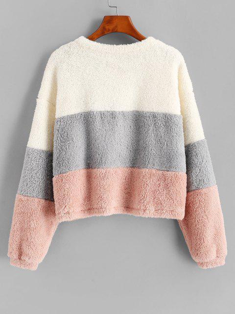 chic ZAFUL Plush Faux Fur Color Blocking Sweatshirt - MULTI-A L Mobile
