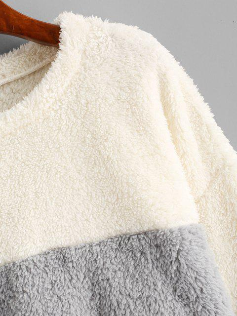 ZAFUL Plüsch Farbblock Kunstpelz Sweatshirt - Multi-A S Mobile