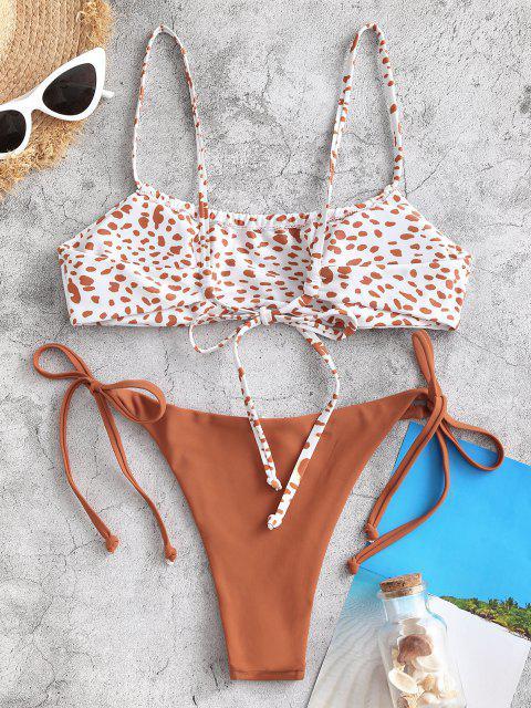 ZAFUL Bikini Fruncido con Estampado de Leopardo Lateral - café M Mobile