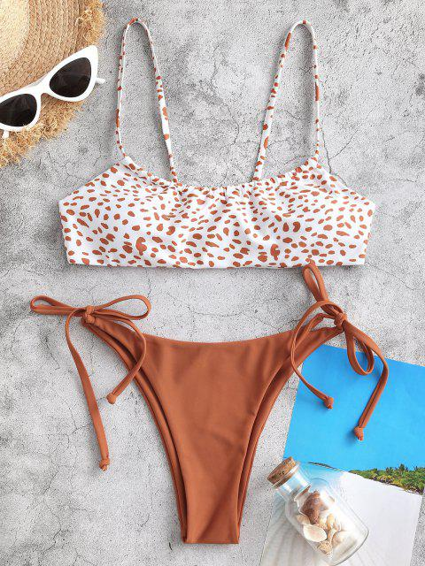 fashion ZAFUL Side Tie Leopard Print Bikini Swimwear - COFFEE L Mobile