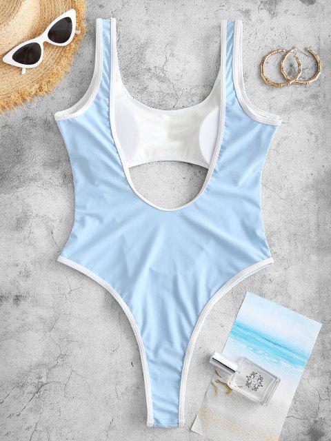 ZAFUL Maillot de Bain Néon Découpé Bicolore Une-Pièce - Bleu clair L Mobile