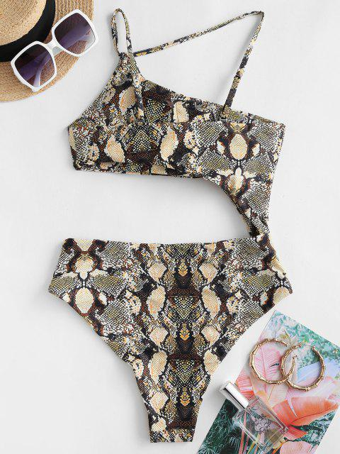 outfits ZAFUL Snake Print One Shoulder Cutout One-piece Swimsuit - COFFEE S Mobile