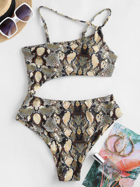 ZAFUL Snake Print One Shoulder Cutout One-piece Swimsuit - قهوة L Mobile