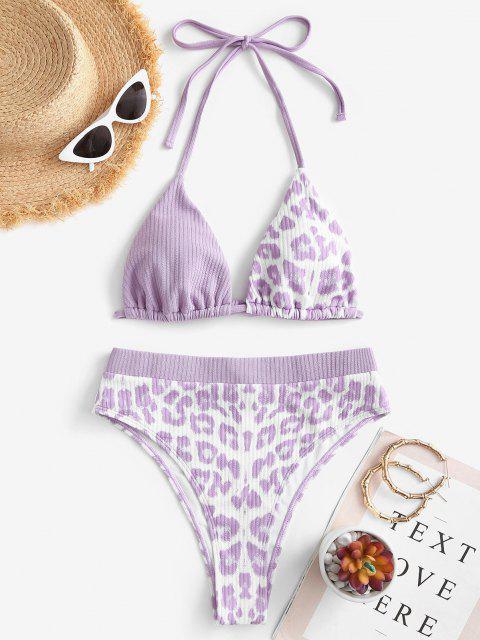shops ZAFUL Convertible Ribbed Leopard High Waisted Bikini Swimwear - LIGHT PURPLE S Mobile