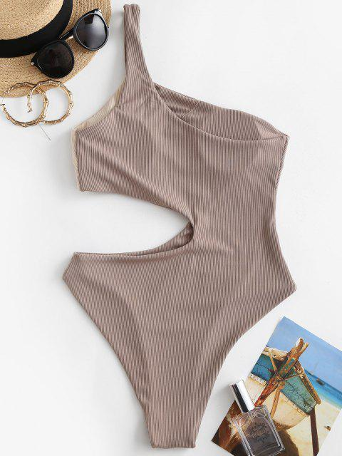 latest ZAFUL Ribbed Two Tone Cutout One Shoulder Swimsuit - LIGHT COFFEE XL Mobile