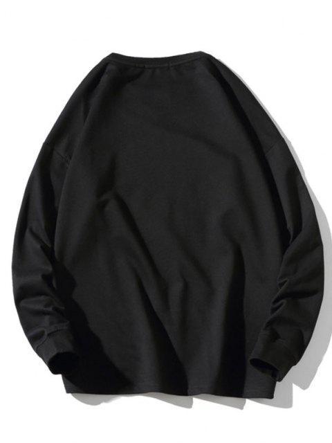 Sweatshirt mit Buchstabe Tiermuster - Schwarz 2XL Mobile