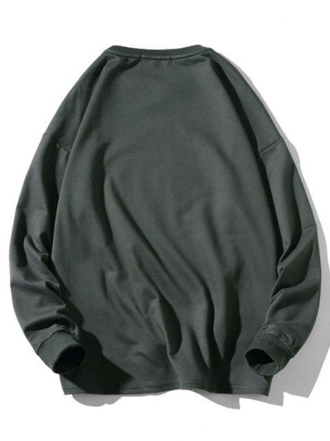 Sweatshirt mit Buchstabe Tiermuster - Dunkelgrau M Mobile