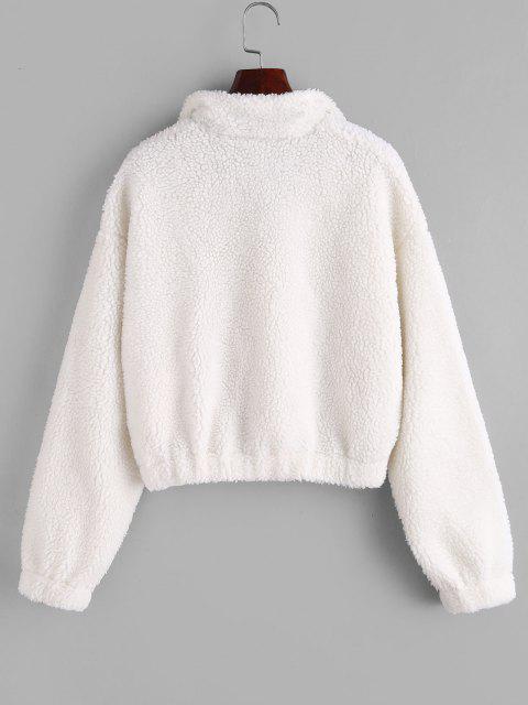 shop ZAFUL Half Zip Drop Shoulder Teddy Sweatshirt - WHITE M Mobile