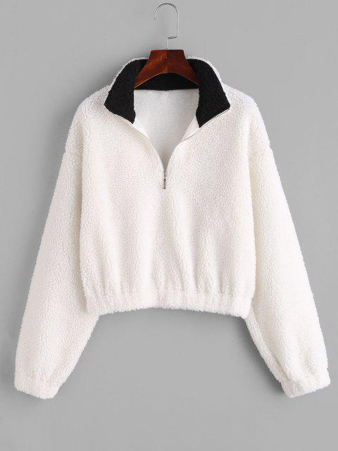 shops ZAFUL Half Zip Drop Shoulder Teddy Sweatshirt - WHITE S Mobile