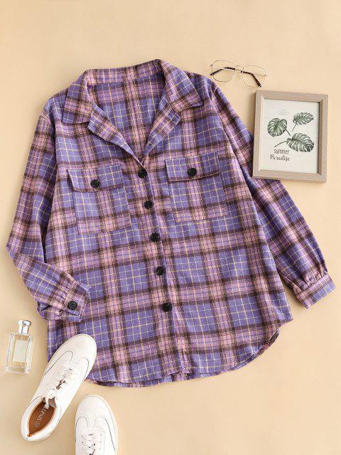 outfit Flap Pockets Plaid Tartan Flannel Shacket - PURPLE M Mobile