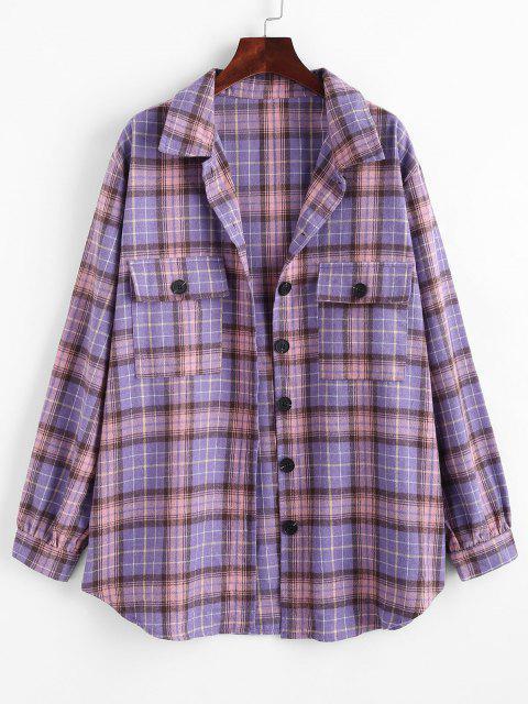 Flap Pockets Plaid Tartan Flannel Shacket - أرجواني S Mobile