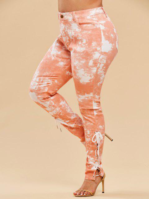 Plus Size Tie Dye Lace-up Pocket Jeans - برتقالي فاتح 2X Mobile
