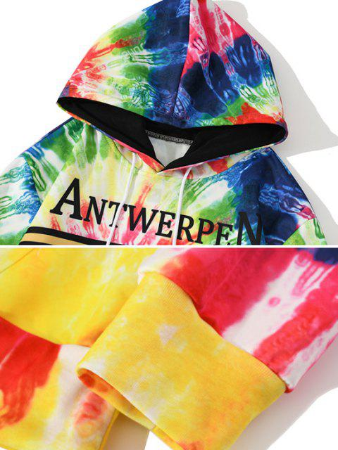 outfits Tie Dye Lion Letter Pattern Hoodie - COBALT BLUE 2XL Mobile