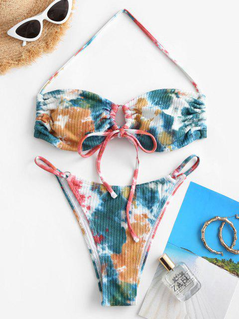 ZAFUL Maillot de Bain Bikini Côtelé Tanga Teinté - Multi M Mobile
