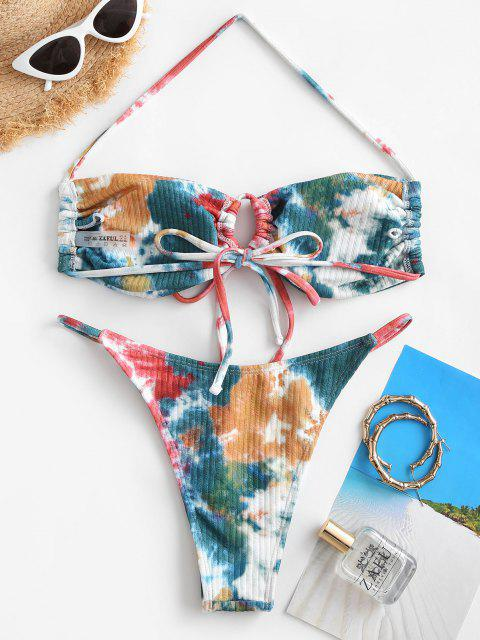 best ZAFUL Tie Dye Tanga Ribbed Bikini Swimwear - MULTI L Mobile