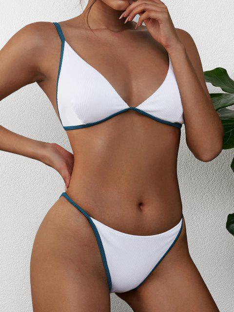 trendy ZAFUL Ribbed Contrast Piping String Bikini Swimsuit - WHITE S Mobile